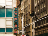 Detail of Coffee Shop Sign and Buildings  Union Square