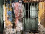 Detail of Colourful Weathered Doorway  Window and Wall