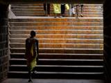 Pilgrim Walking the Stairs from Tirupathi to Tirumala