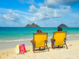 Couple Relaxing on Beach at Lanikai on Windward Side of Oahu