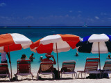 People in Sea and under Beach Umbrellas at Philipsburg Beach on Great Bay