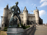 Statue of Lange Wapper in Front of Het Steen-The 13th Century Castle