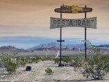 Old Restaurant Sign at Route 66 Near Chambless with Marble Mountains in Distance