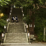 Two School Girls Walking Up Steps at Chitose Shrine