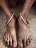 Detail of Old Woman's Feet with Ankle Bracelets