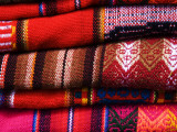 Typical Bolivian Weavings at Street Craft Stall  Calle Linares