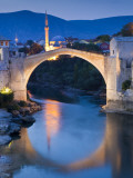 Stari Most or Old Bridge over Neretva River at Dusk