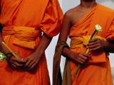 Orange-Robed Monks at Phra Pathom Chedi  the World's Talles Buddhist Monument