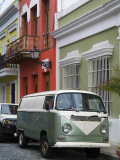 Old Volkswagen Combi Outside Colourful Colonial Houses in Old San Juan
