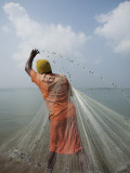 Man Tossing Weighted Net into Shallow Water to Catch Shrimp
