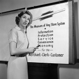 Young Career Woman Giving Business Presentation  Pointing at Poster