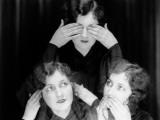 Triple Exposure of Girl in Hear No Evil  See No Evil  Speak No Evil Poses