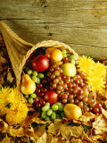 Cornucopia Filled With Harvest Fruit For Thanksgiving