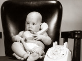 Baby on Telephone  Playing Executive Businessman