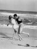 Couple Embracing on Sandy Beach