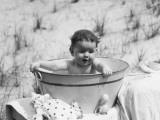 Baby Sitting in Wash Tub  Having Bath