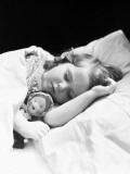 Girl Sleeping  Head on Pillow  Baby Doll Toy Under Arm