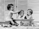 Three Babies in Wash Tub  Bathing