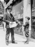 Newspaper Boy Selling Paper To Businessman  Philadelphia