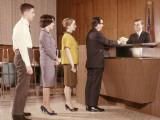 Line People Group Waiting Bank Teller Banking
