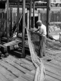Man Working on Fishing Net
