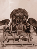 Group of Women in Bathing Suits With Parasols on Bench  1930's