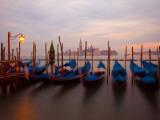 Anchored Gondolas at Twilight  Venice  Italy