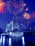 Fireworks Over the Tower Bridge  London  Great Britain  UK