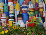 Colorful Buoys on Wall  Rockport  Massachusetts  USA
