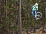 Mountain Biker on Malice in Plunderland Trail  Spencer Mountain  Whitefish  Montana  USA