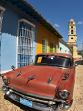 Old Classic Chevy on Cobblestone Street of Trinidad  Cuba