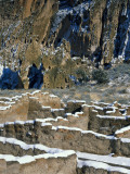 New Snow on Broken Walls of Tyuoni Ruin  Bandelier National Monument  New Mexico  USA