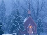 Historic Yosemite Valley Chapel During Heavy Snowfall in Yosemite National Park  California  USA