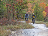 Mountain Bikers on the Slickrock of Dupont State Forest in North Carolina  USA