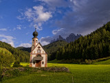 Church Called Rainui in Valley in the Italian Dolomites  Val Di Funes  Italy