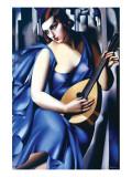 Femme en Bleu Avec Guitare