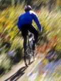 Blurred Action of Recreational Mountain Biker Riding on the Trails