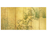 Japanese Autumn Grasses  Six-Fold Screen  Early Edo Period