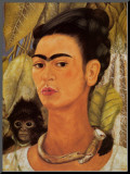 Autoportrait au singe, 1938 Reproduction montée par Frida Kahlo