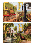 E  F  G  H Illustrated Letters