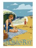 Morro Bay  California Beach Scene