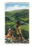 North Carolina - Cherokee Men Overlooking Fields near Great Smoky Mt Nat'l Park