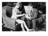 James Montgomery Flagg Poses With a Girl Manikin That He Uses From Which To Paint