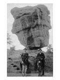 Colorado Springs  CO - Garden of Gods Balanced Rock  Men on Burros
