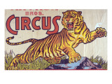 """Arthur Bros Circus"" Poster with Illustration of Roaring Tiger  Circa 1945"