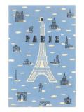 Eiffel Tower and Various Paris Motifs Reproduction d'art