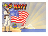 US Navy Sailor with Flag and Ship