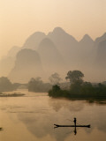 Li River and Limestone Mountains and River Yangshou  Guangxi Province  China