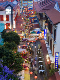Market and Restuarants in Chinatown  Singapore  at Dusk