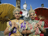 Girls Dressed in Traditional Dancing Costume at Wat Mahathat  SUKhothai  Thailand